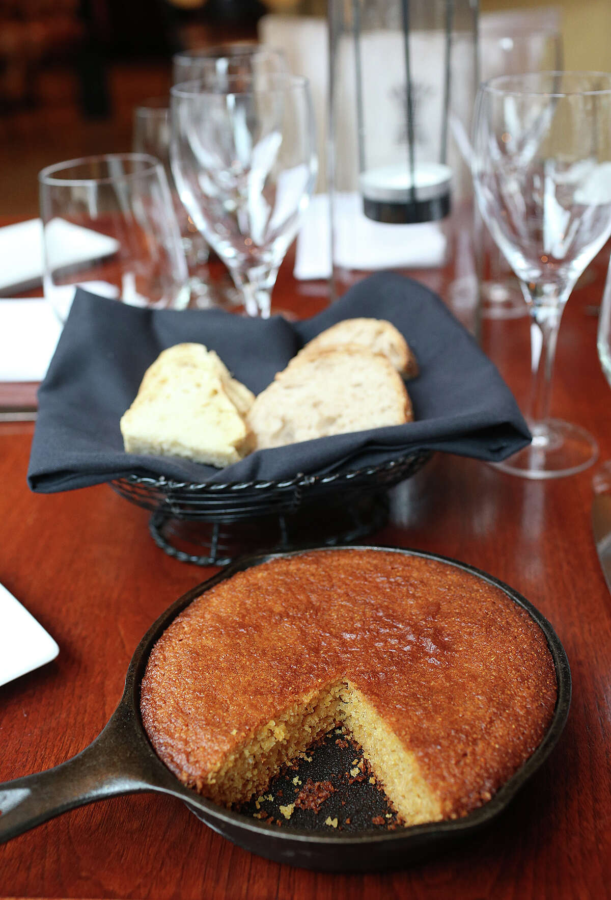 Cornbread in a cast-iron pan