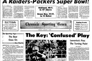 Oakland Raiders win the Championship game to reach Super Bowl II. eventually losing to the Green Bay Packers
