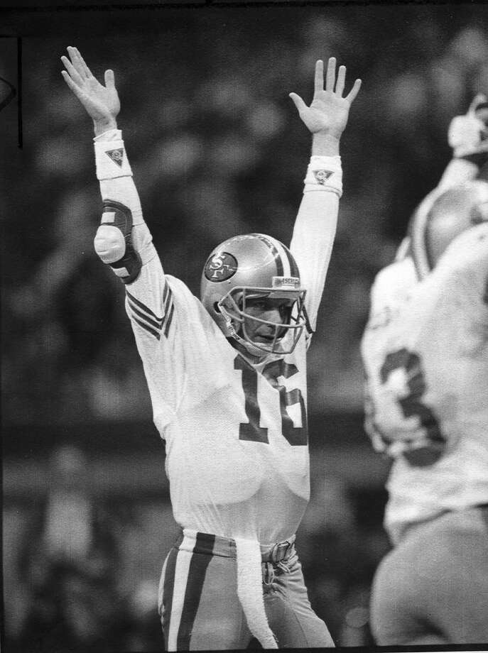 San Francisco 49ers beat Denver Broncos 55-10 in Super Bowl XXIV 01/28/1990. Joe Montana would throw 5 touchdown passes and be voted Most Valuable Player Photo ran 01/29/1990, P. A1 Photo: Frederic Larson, The Chronicle
