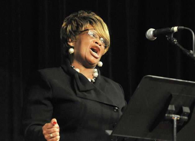 "SoloIst Barbara A. Chandler sings ""God Bless America"" during a swearing-in ceremony for newly admitted members of the New York State Bar at the Empire State Plaza Convention Center on Thursday Jan. 22, 2015 in Albany, N.Y. (Michael P. Farrell/Times Union) Photo: Michael P. Farrell / 00030281A"