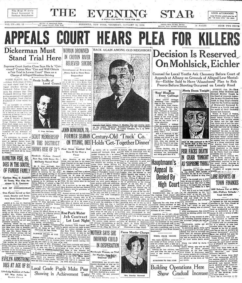 The Jan. 16, 1936, edition of the Peekskill Evening Star which carried the stories of deaths of both the scion Hamilton Fish and the killer Hamilton Fish.