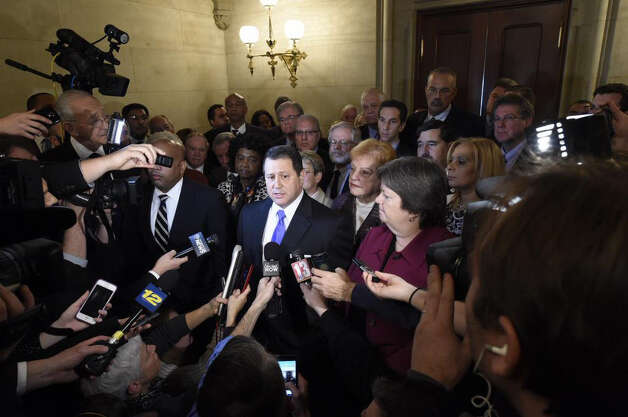 Assembly Majority Leader Joseph Morelle is joined by the Democratic Conference of the Assembly in support of Speaker Silver Thursday. (Skip Dickstein/Times union)