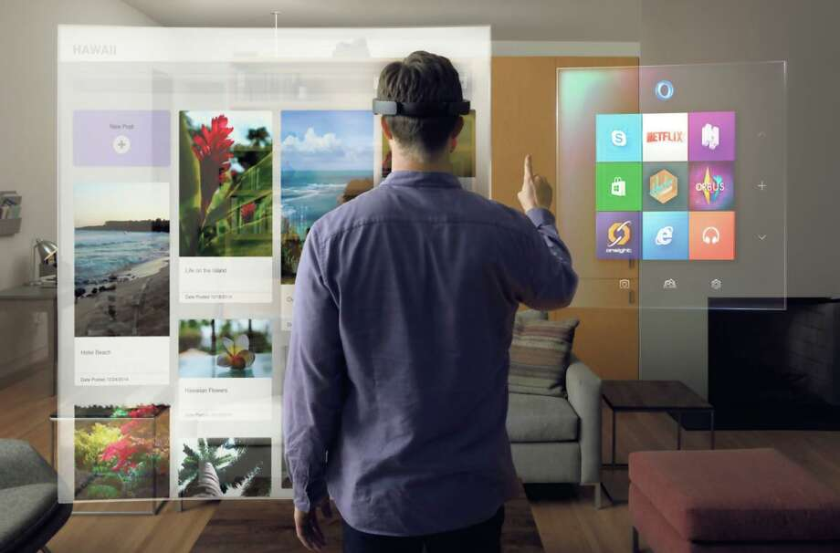 The HoloLens headset, left, creates an augmented reality, inserting virtual items into the real world, as in the simulation at right. Photo: MICROSOFT / New York Times / MICROSOFT