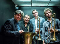 Jazz group Big Sackbut, features musicians (from left) Marcus Rojas, Luis Bonilla, Joe Fiedler and Ryan Keberle. The group comes to Sacred Heart University for a free event on Monday, Feb. 2, at 8 p.m.