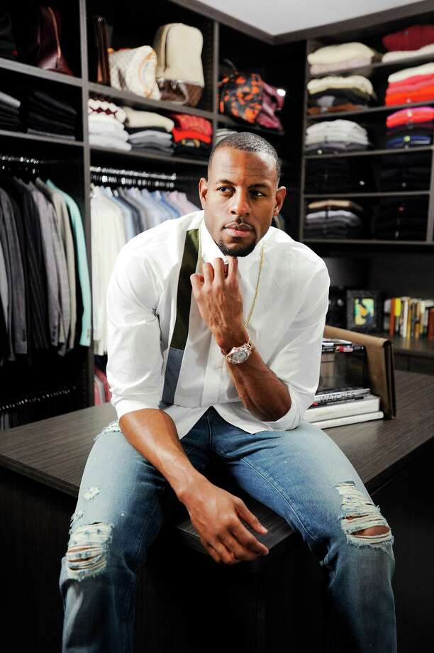 Golden State Warrior Andre Iguodala wears a Dior dress shirt, 3x1 light blue distressed jeans, and white high-top Jordan 1s made for him. Photo: Michael Short / Special To The Chronicle / ONLINE_YES