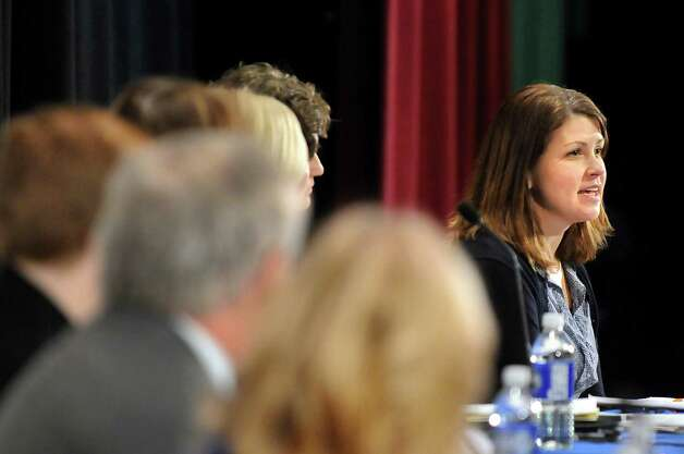 Cindy Bartlett-Murray, teacher with the Queensbury Union Free School District, right, speaks during Stand Up for Upstate Schools on Thursday, Jan. 222, 2015, at Saratoga Springs High in Saratoga Springs, N.Y. (Cindy Schultz / Times Union) Photo: Cindy Schultz / 00030203A