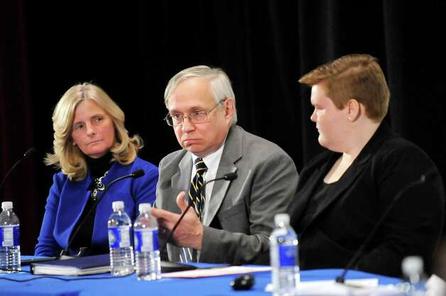 Robert N. Lowry Jr. of the New York State Council of School Superintendents, center, speaks during Stand Up for Upstate Schools on Thursday, Jan. 222, 2015, at Saratoga Springs High in Saratoga Springs, N.Y. Joining him are Peggy A. Murphy of Espey Manufacturing and Electronics Corp., left, and Allison Lanfear, a student at Warrensburg Central School District. (Cindy Schultz / Times Union) Photo: Cindy Schultz / 00030203A