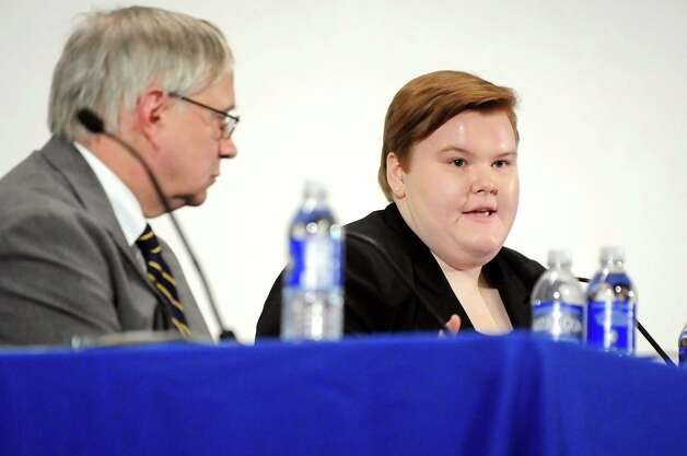 Allison Lanfear, a student at Warrensburg Central School District, right, speaks during Stand Up for Upstate Schools on Thursday, Jan. 222, 2015, at Saratoga Springs High in Saratoga Springs, N.Y. Also on the panel is Robert N. Lowry Jr. of the New York State Council of School Superintendents. (Cindy Schultz / Times Union) Photo: Cindy Schultz / 00030203A