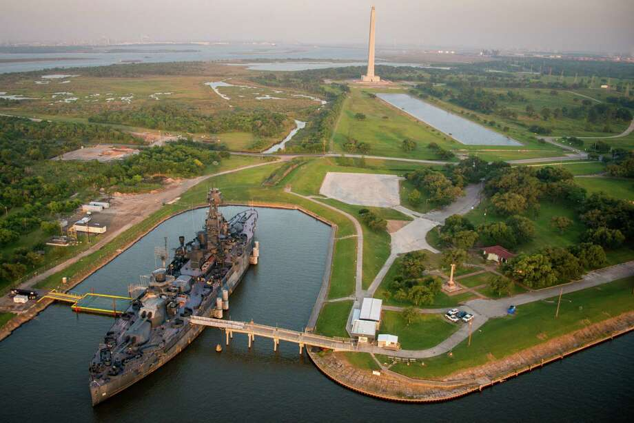 The Battleship Texas and the San Jacinto Monument seen on Friday, May 17, 2013, in Houston. ( Smiley N. Pool / Houston Chronicle ) Photo: Smiley N. Pool, Staff / © 2013  Houston Chronicle