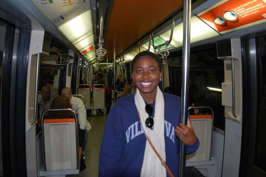 Alessandra Knight in a subway in Chile. The Sacred Heart graduate recounted her story of surviving the earthquake there Saturday, Feb. 27, 2010. Photo: Contributed Photo / Greenwich Time Contributed