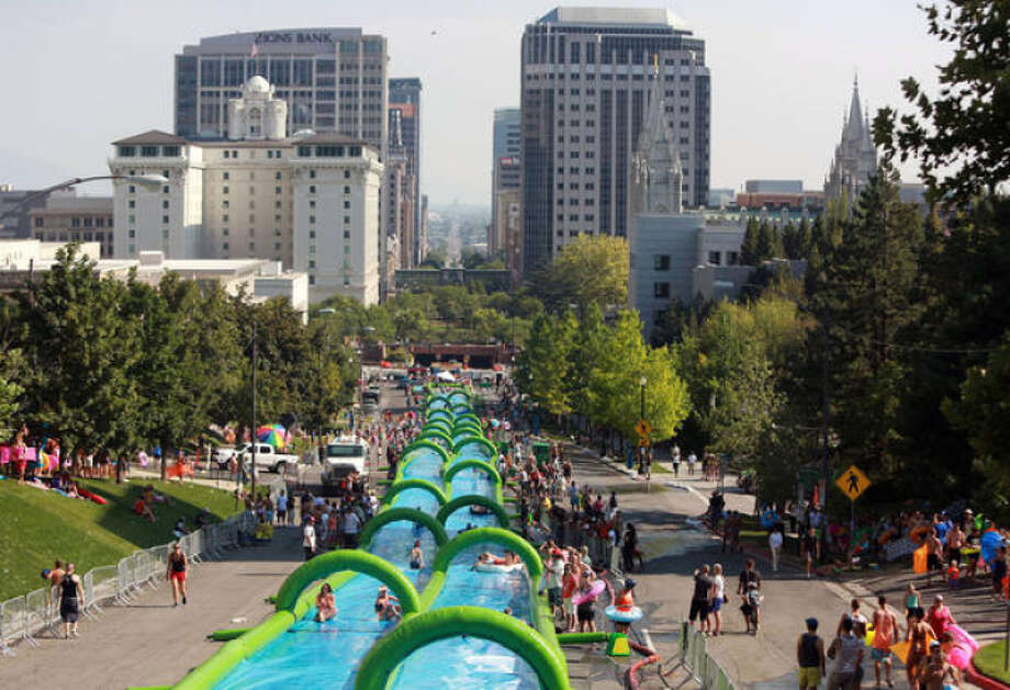 Slide the City in action. Photo: Slide The City
