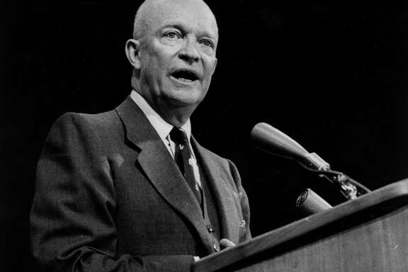 Dwight D Eisenhower (1890 - 1969), the 34th president of the United States of America.