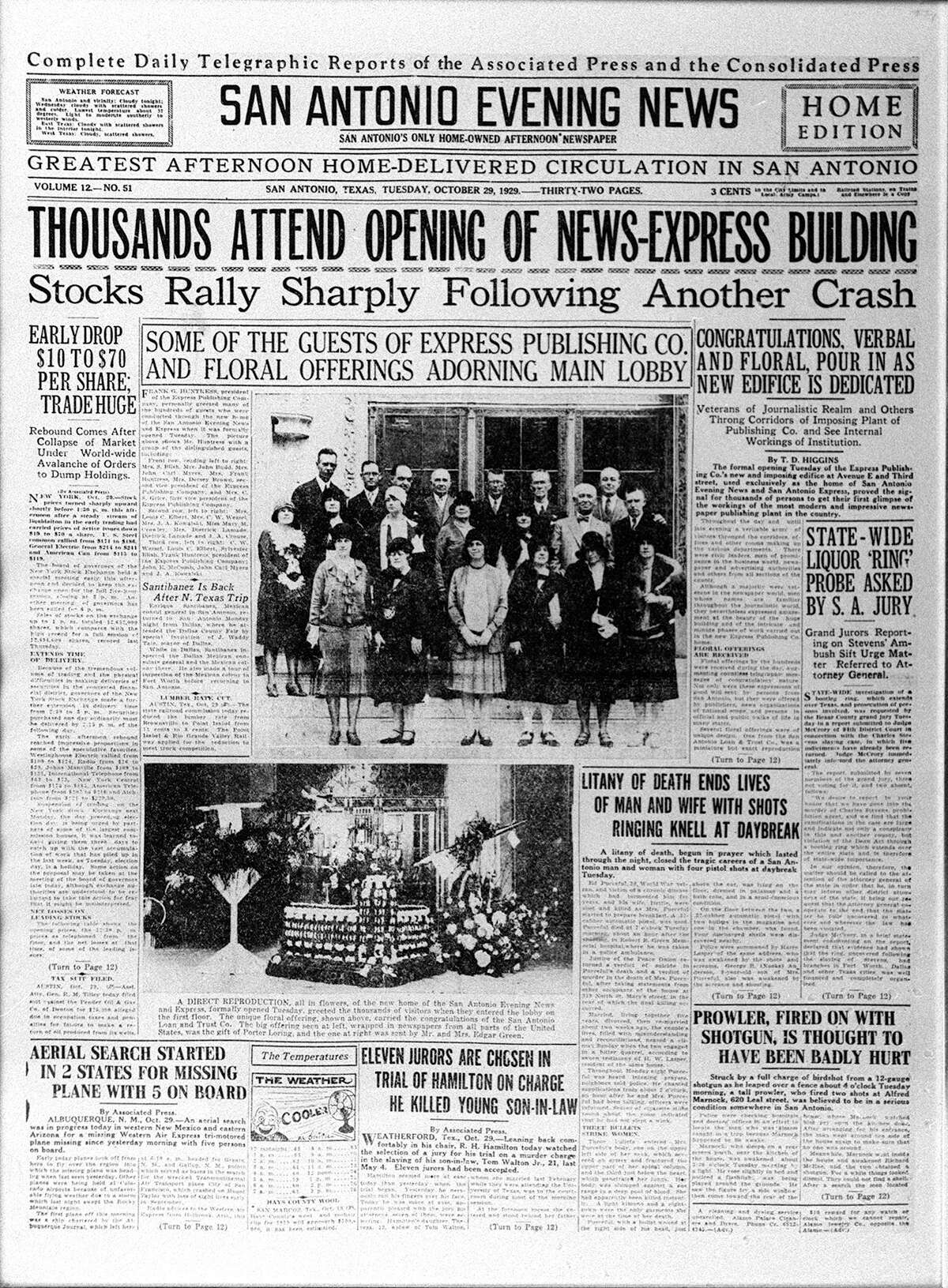 Front page with headlines show the grand opening of the Express-News building Oct. 29, 1929.