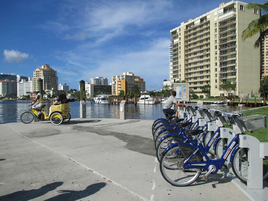 You can take a Broward B-cycle or pedicab, or walk, to Water Taxi stations around town. Photo: Robin Soslow / For The Express-News