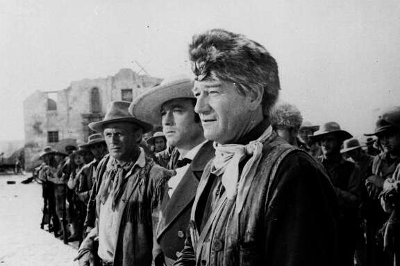 "John Wayne starred as Davy Crockett in the 1960 movie ""The Alamo."""