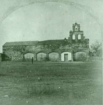 The exterior of Mission San Juan Capistrano. Copied from original stereograph by Alexis V. Latourette From the Wanda Graham Ford Collection, San Antonio Conservation Society. Photo: San Antonio Conservation Society /UTSA Special Collections / UTSA Special Collections