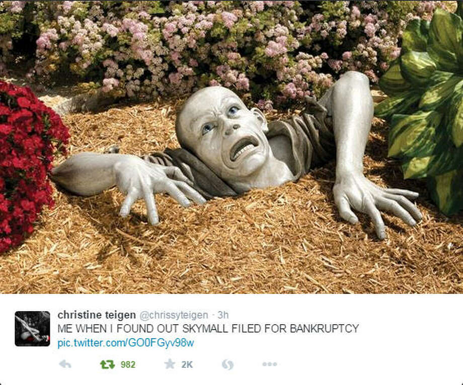 Like many Americans, model Chrissy Teigen was upset when she found out that Skymall had filed for bankruptcy, as shown in her tweet of a product that was sold in the in-flight catalog. See some of the other ridiculous things that were sold by the company.