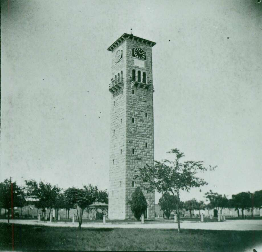 The clock tower in the Quadrangle at Fort Sam Houston in the 1890's. Photo: UTSA Special Collections / San Antonio Conservation Society / UTSA Special Collections