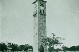 The clock tower in the Quadrangle at Fort Sam Houston in the 1890's.