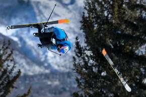 Oystein Braaten loses his ski in midair on his first run of the ski slopestyle men's elimination round Thursday, Jan. 22, 2015, during the X Games at Buttermilk Mountain in Aspen, Colo. Braaten did not advance to the finals. (AP Photo/The Colorado Springs Gazette, Christian Murdock) MAGAZINES OUT