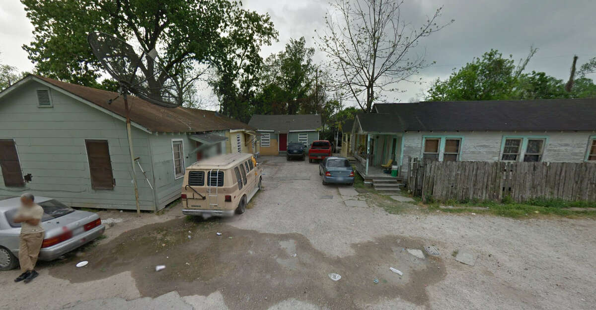 Before: This apartment-like complex of homes on 43rd Street as it looked before being purchased by the Houston Independent School District