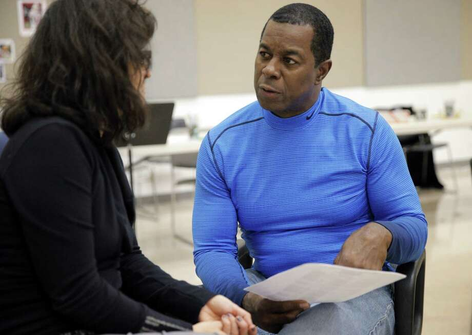 Former San Francisco 49ers player Dwight Hicks speaks with playwright KJ Sanchez in Berkeley. Photo: Carlos Avila Gonzalez / The Chronicle / ONLINE_YES
