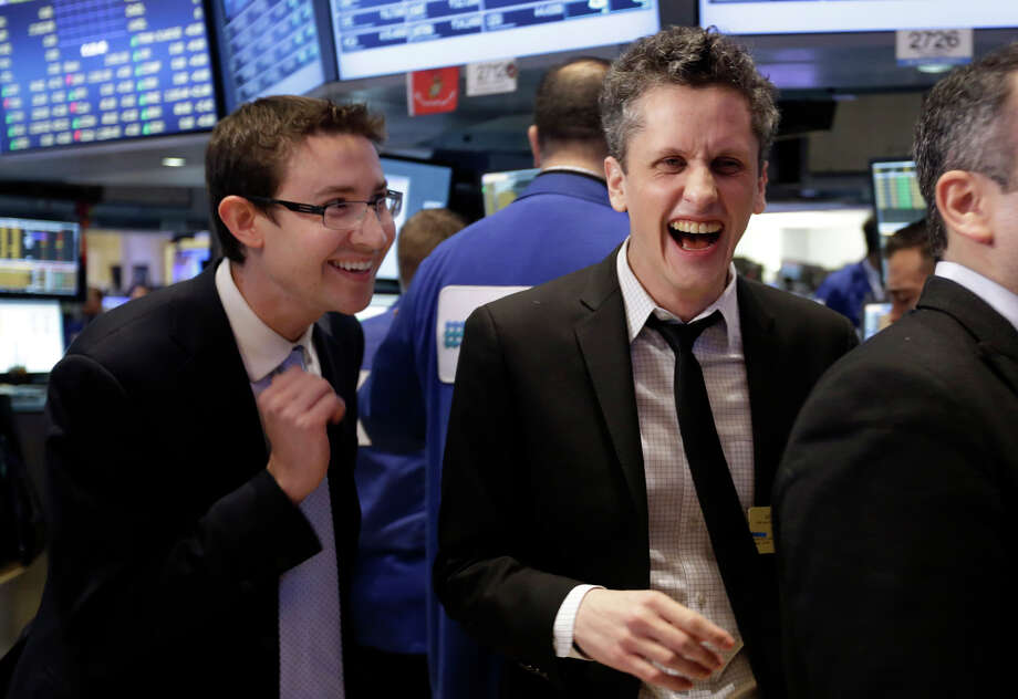 Box co-founders Dylan Smith (left) and Aaron Levie get ready to ring the opening bell at the New York Stock Exchange as shares begin trading Friday. The Los Altos company raised $175 million in its IPO. Photo: Richard Drew / Associated Press / AP