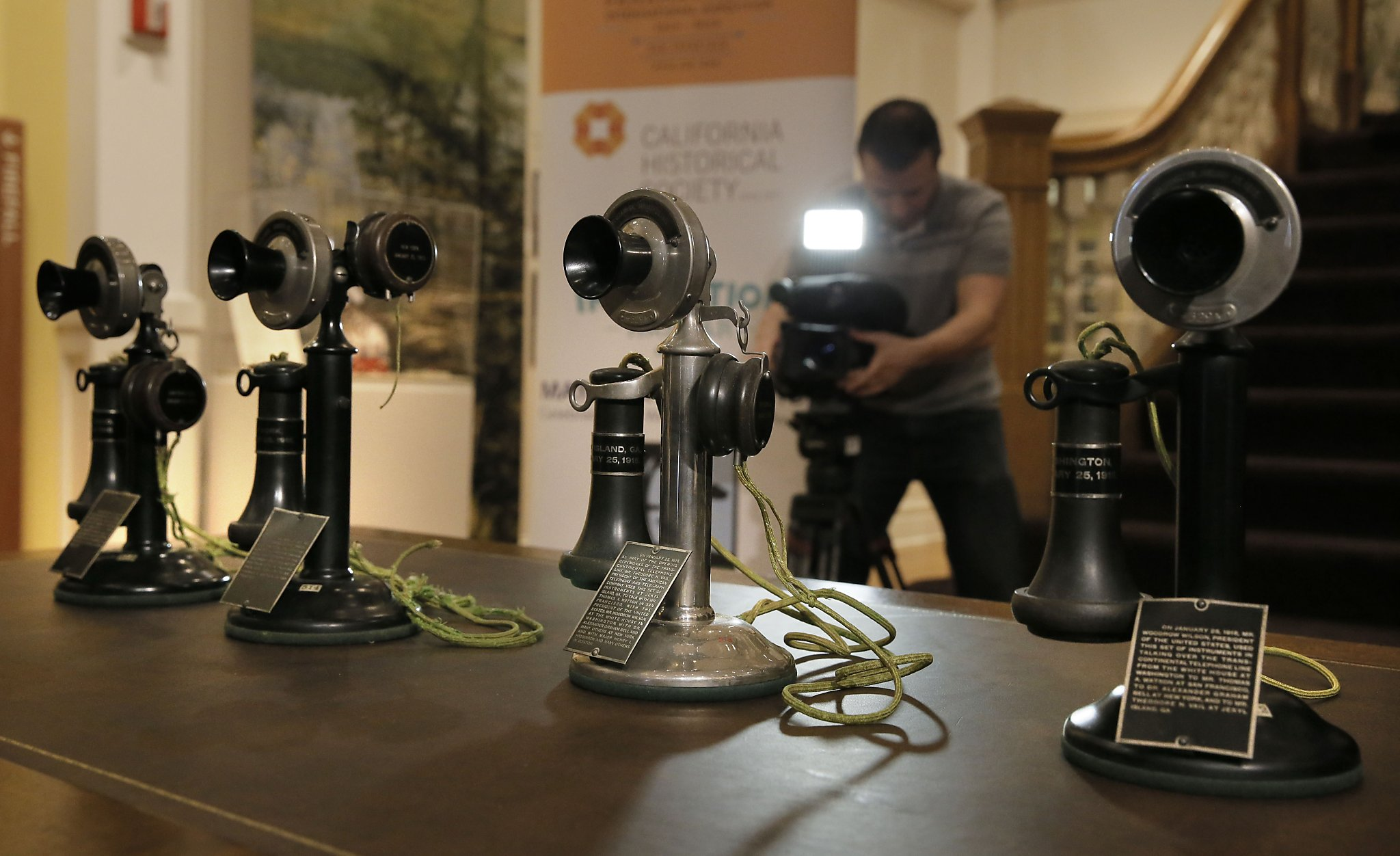 Historic Phones Used In Early Transcontinental Call Shown