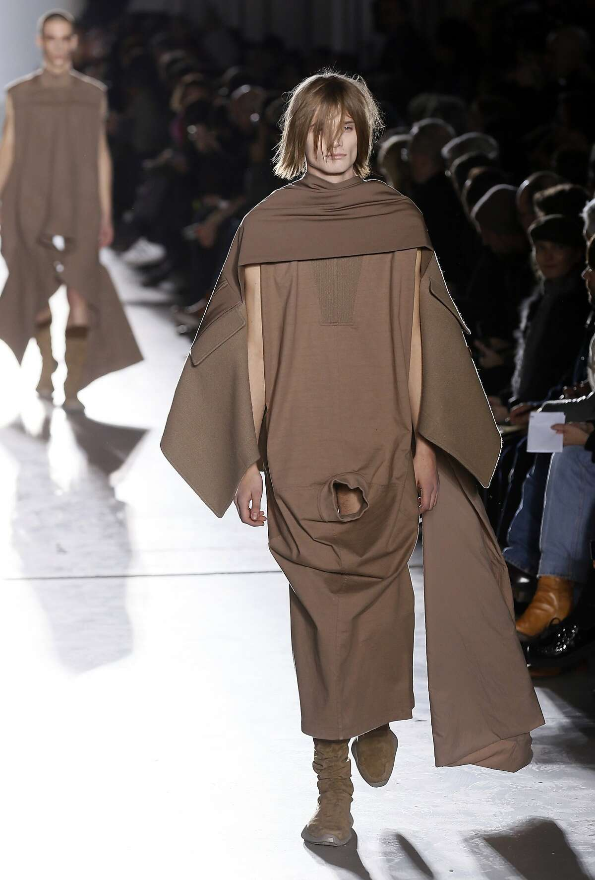 THERE'S A PLACE IN FRANCE WHERE THE YOUNG MEN DON'T WEAR PANTS: A show by U.S. fashion designer Rick Owens caused a stir in Paris when some of the models wore outfits with strategically placed holes that revealed their genitals.