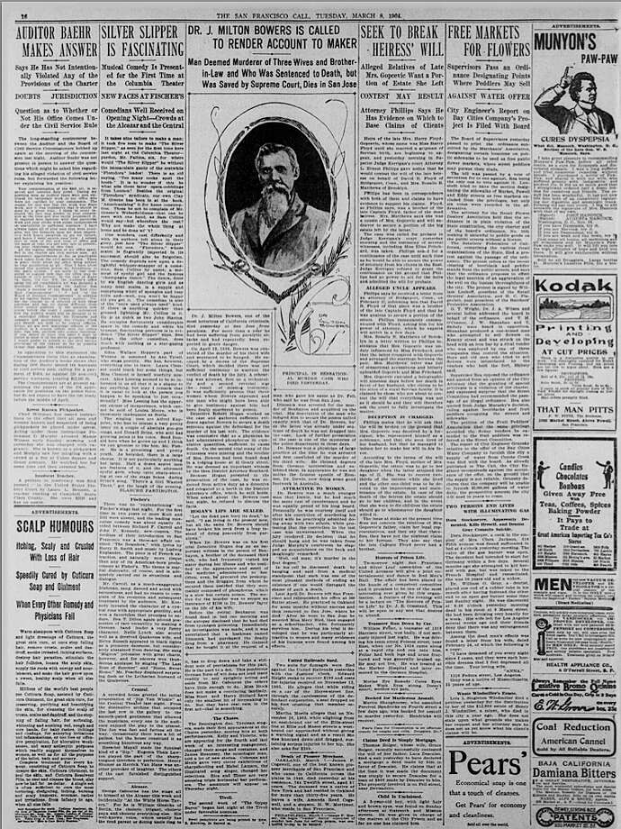 Page from San Francisco Call, March 8, 1908. Story about death of J. Milton Bowers. All newspapers published before January 1, 1923 are in the public domain and therefore have no restrictions on use. If publishing, quoting from, or otherwise reproducing the images from this collection, we request that you credit the CDNC as follows: California Digital Newspaper Collection, Center for Bibliographic Studies and Research, University of California, Riverside, . page from san francisco call, march 8 1904. All newspapers published before January 1, 1923 are in the public domain and therefore have no restrictions on use. If publishing, quoting from, or otherwise reproducing the images from this collection, we request that you credit the CDNC as follows: California Digital Newspaper Collection, Center for Bibliographic Studies and Research, University of California, Riverside, . Photo: CDNC / Cdnc.ucr.edu / ONLINE_YES