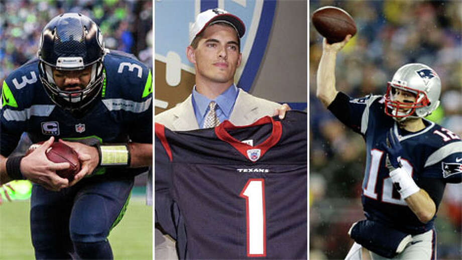 Drafting a quarterback with the No. 1 overall pick in the NFL Draft is no ticket to the Super Bowl. The Texans took David Carr with the No. 1 pick and he flopped. Seattle's Russell Wilson fell all the way to overall pick No. 75 in Round 3 and played in two Super Bowls in his first three years. New England legend Tom Brady was an even bigger steal, getting plucked with pick No. 199 in Round 6.Check out how far down the draft chart some of these 31 Super Bowl-winning quarterbacks slid.