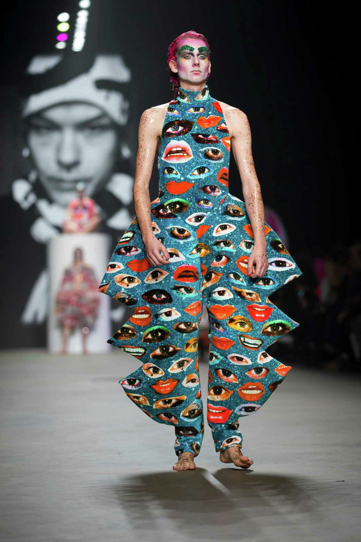 A model wears a creation for designer Bas Kosters' Fall/Winter 2015 collection during the Mercedes-Benz Fashion Week in Amsterdam, Netherlands, Friday, Jan. 23, 2015.