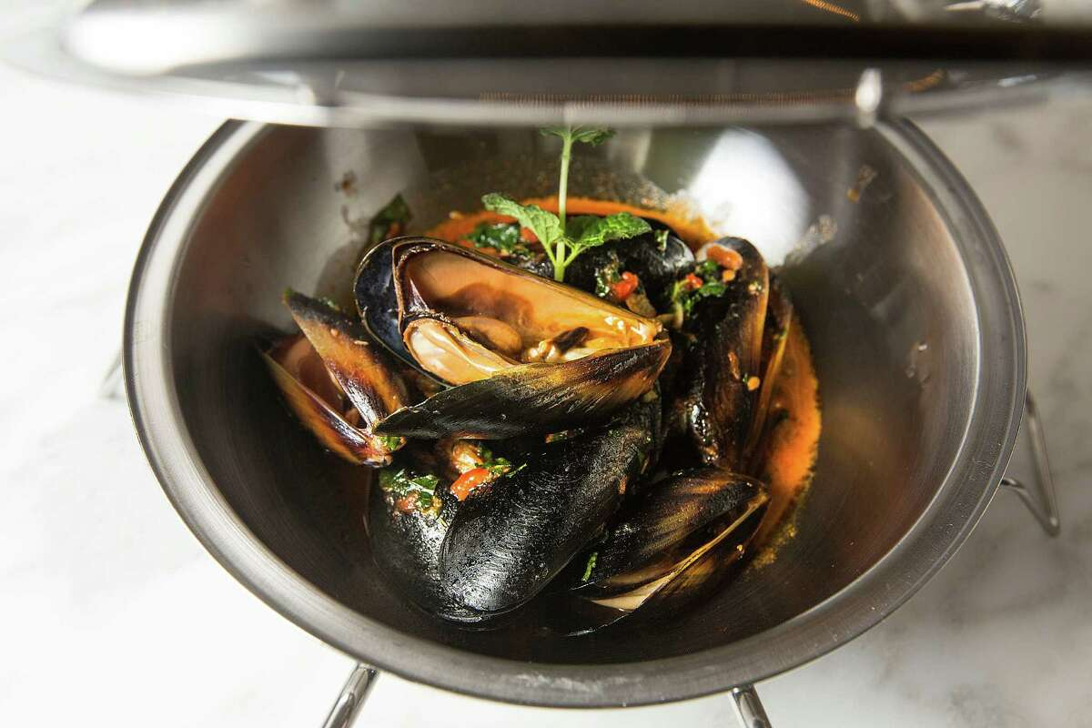 Cataplana de Mexilhoes, black mussels at Oporto Fooding House and Wine in Midtown Wednesday, Jan. 7, 2015, in Houston. Oporto is a Portuguese inspired restaurant. ( Johnny Hanson / Houston Chronicle )