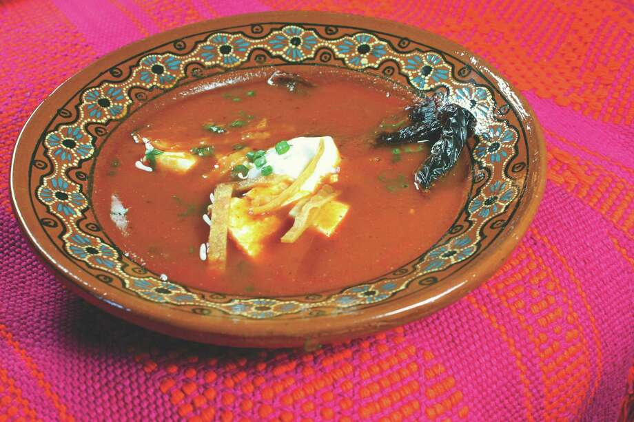 Sopa Tarasca, a traditional soup from Michoac n, Mexico. From  Naturally Healthy Mexican Cooking: Authentic Recipes for Dieters, Diabetics & All Food Lovers,  by Jim Peyton. His recipe selections come from various cookbooks, culled for dishes with less fat and with traditional staples that are naturally healthy. Photo: --