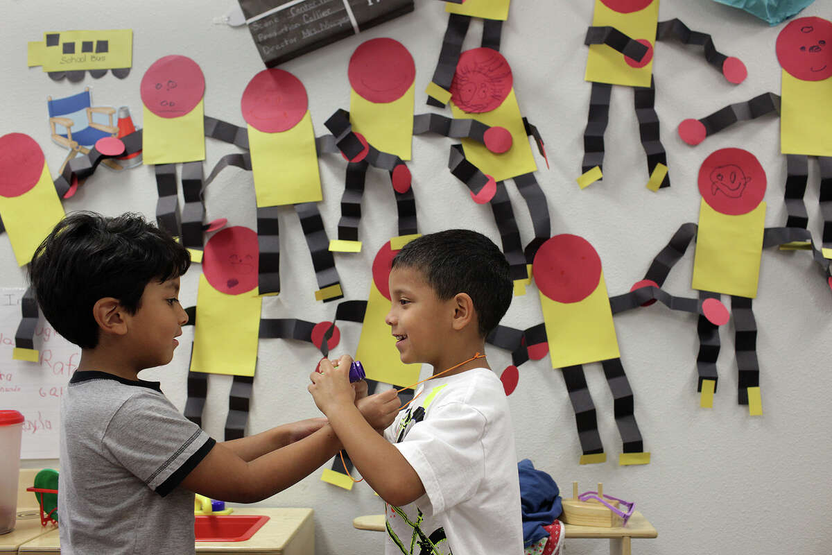 There is a danger that pre-k education will be just as substandard as what follows. Augie Campa, 4, left, and JoeAngel (cq), Garcia, 5, play with a set of toy binoculars during a pre-Kindergarten class at Collier Elementary School last year.