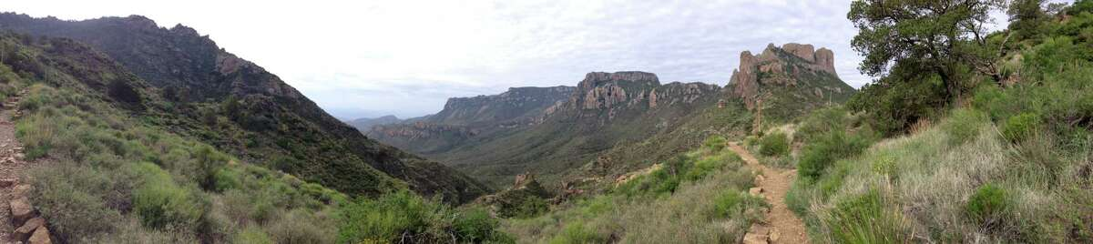 A panoramic of Big Bend from halfway up Lost Mine Trail.