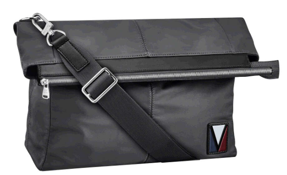 The Move, a foldover leather tote, is part of the new Louis Vuitton V line for men.