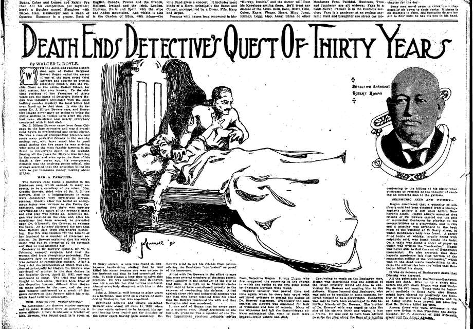 An illustration that ran in the Chronicle of Cecelia Bowers struggling with her husband, Dr. J. Milton Bowers. / ONLINE_YES