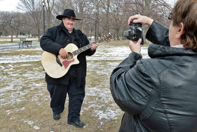 Bill Winchester, left, of East Greenbush poses for a new CD cover for photographer E. Marie DeShaw of Wynantskill in Washington Park Friday Jan. 23, 2015, in Albany, NY.  (John Carl D'Annibale / Times Union) Photo: John Carl D'Annibale