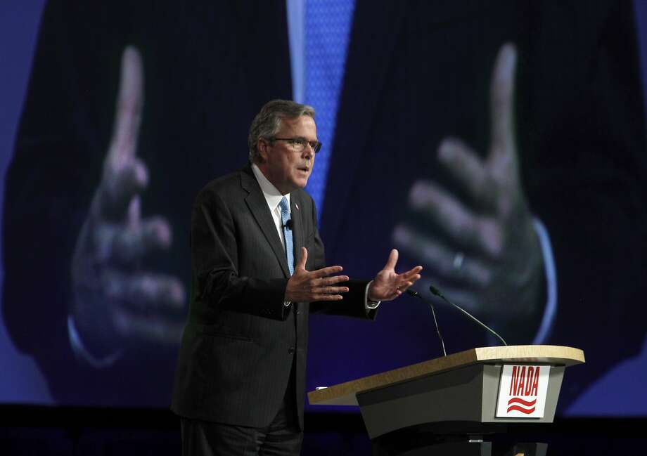 Former Florida Gov. Jeb Bush delivers the keynote speech at the National Automobile Dealers Association convention at Moscone Center in San Francisco, Calif. on Friday, Jan. 23, 2015. Bush is exploring a potential run for the presidency in 2016. Photo: Paul Chinn, The Chronicle