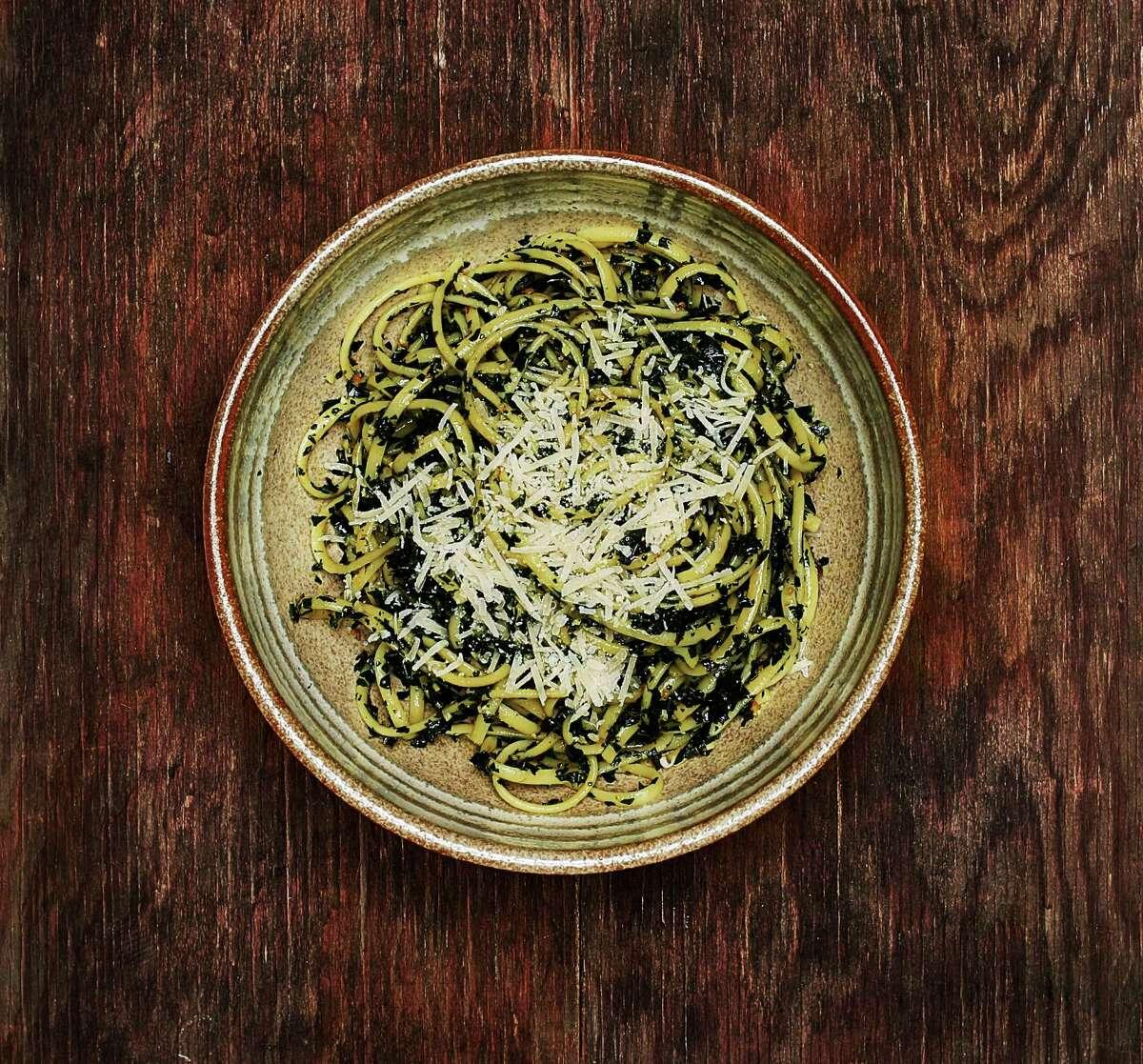 Pasta with Kale and Lemon Garlic Confit.