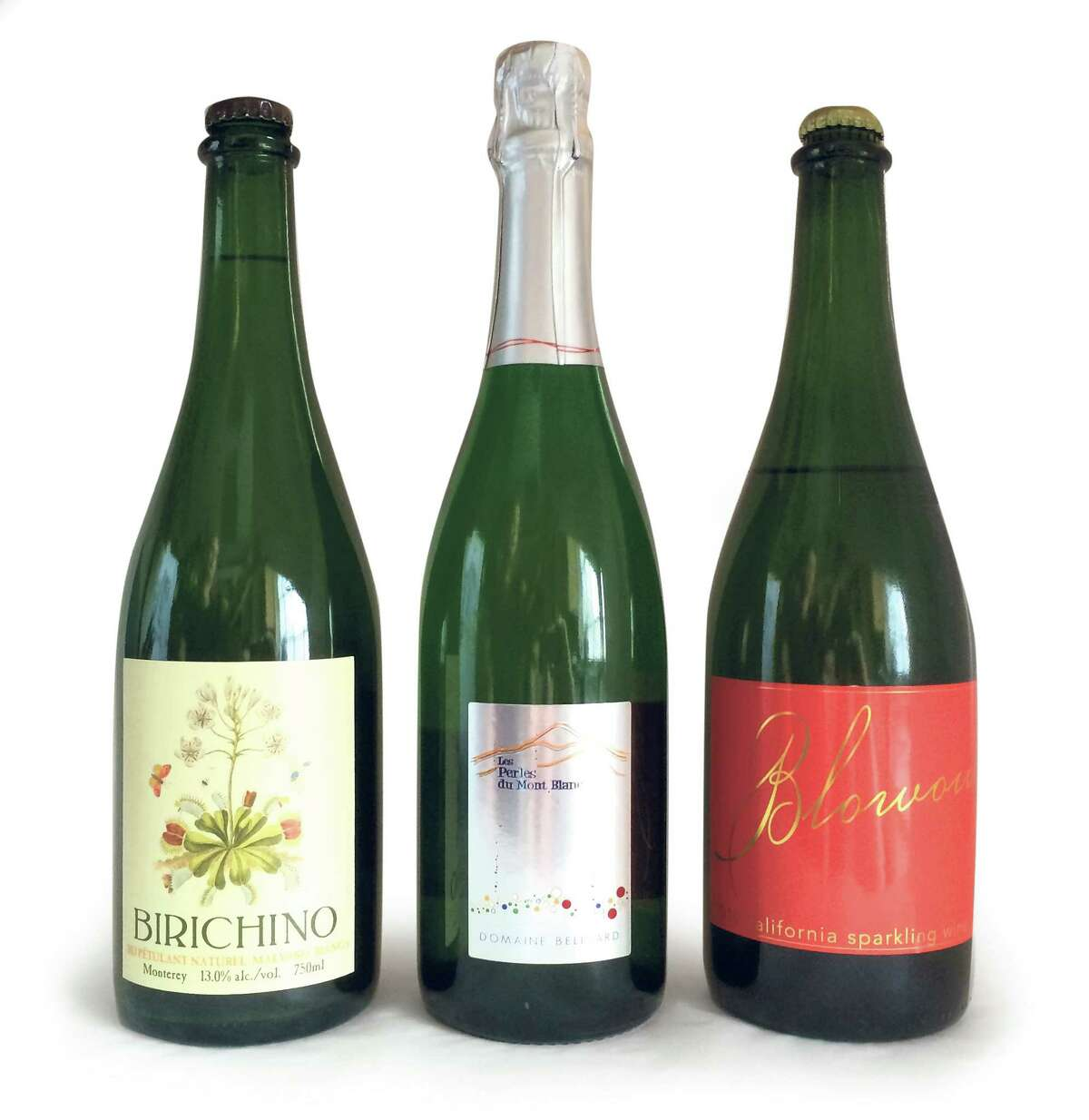 From left to right: The 2013 Birichino Malvasia Petulant Naturel; the NV Belluard Les Perles du Mont Blanc Savoie Sparkling; and the 2014 Scholium Project Blowout.
