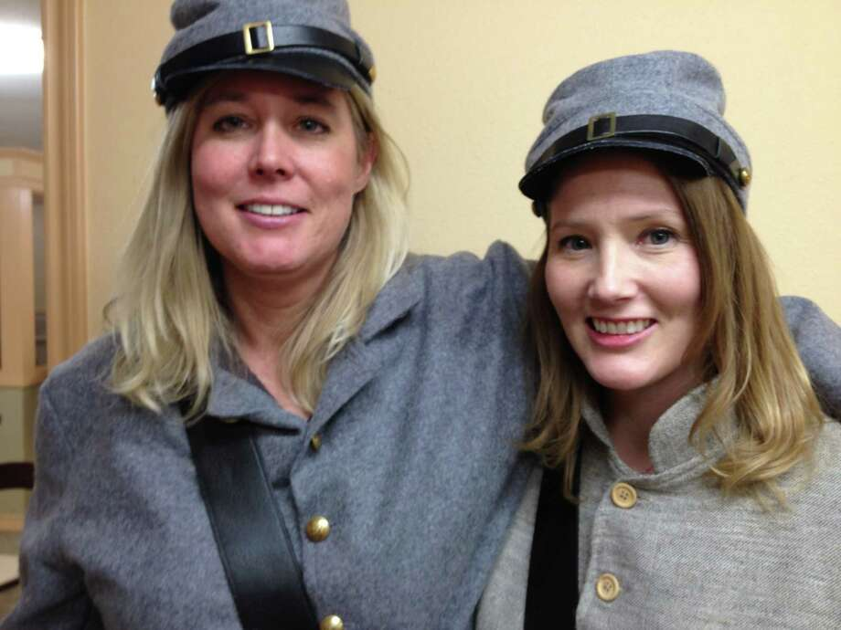 """Kathy Hepinstall, left, and Becky Hepinstall Hilliker grew up in Spring. """"Sisters of Shiloh"""" is their first collaborative work, and they dressed the part.  Photo: Joe Holley / Houston Chronicle / Joe Holley / Houston Chronicle"""