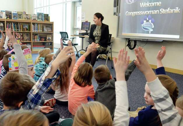Congresswoman Elise Stefanik,center, is welcomed by Kindergarteners as part of her tour of Gordon Creek Elementary School Friday Jan. 23, 2015, in Ballston Spa, NY.   (John Carl D'Annibale / Times Union) Photo: John Carl D'Annibale / 00030322A