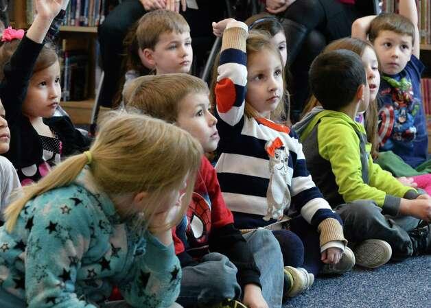 Kindergarten students ask questions of Congresswoman Elise Stefanik during her tour of Gordon Creek Elementary School Friday Jan. 23, 2015, in Ballston Spa, NY.   (John Carl D'Annibale / Times Union) Photo: John Carl D'Annibale / 00030322A