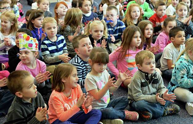 "Kindergarteners applaud Congresswoman Elise Stefanik for her reading of Ezra Jack Keats' ""A Snowy Day"" to during a tour of Gordon Creek Elementary School Friday Jan. 23, 2015, in Ballston Spa, NY.   (John Carl D'Annibale / Times Union) Photo: John Carl D'Annibale / 00030322A"