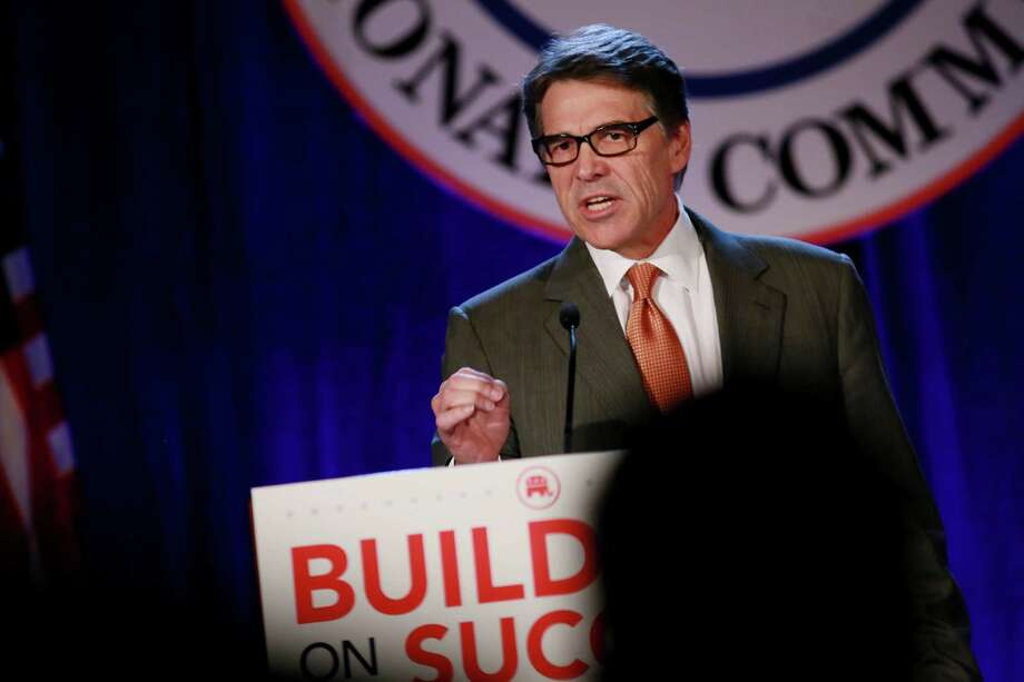 CORONADO, CA - JANUARY 16: Texas Governor Rick Perry speaks to fellow Republicans during a luncheon meeting during the Republican National Committee's Annual Winter Meeting on January 16, 2015 in Coronado, California. Governor Perry is contemplating a possible run for President in 2016.(Photo by Sandy Huffaker/Getty Images) Photo: Sandy Huffaker, Stringer / 2015 Getty Images