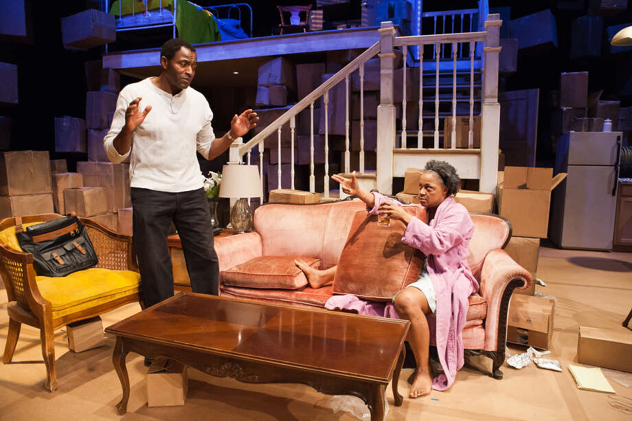 """Leo (Carl Lumbly, left) attempts to calm his mother Jessalyn (Cathleen Riddley) in """"Tree"""" at San Francisco Playhouse Photo: Jessica Palopoli / ONLINE_YES"""