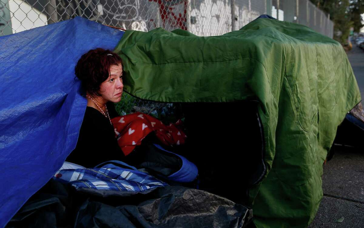 Sharon Albanese, who lives with her husband in an encampment on San Bruno Avenue, says she hopes the Navigation Center will offer alternatives to the streets.