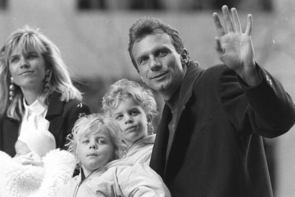 Joe Montana and family during the victory parade down Market St. in San Francisco in 1990 after the third 49ers Super Bowl win.